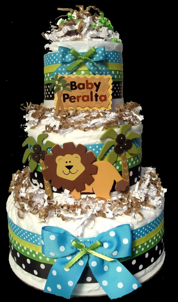 Jungle Theme Cakes For Baby Shower Jungle Diaper Cake Baby