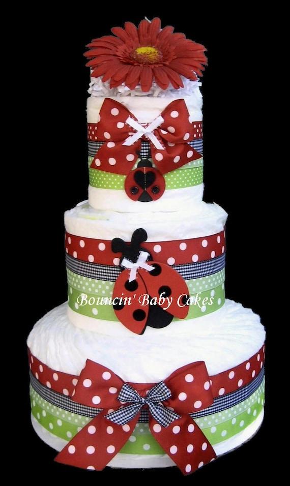 Ladybug Garden Baby Shower Diaper Cake Centerpiece