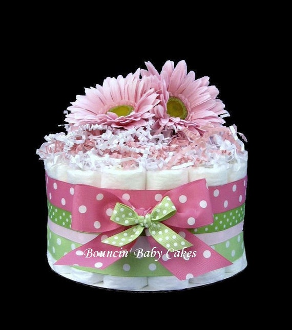 Diaper Cake Centerpiece For Baby Shower : 1 Tier Strawberry Kiwi Baby Shower Diaper Cake/ Centerpiece