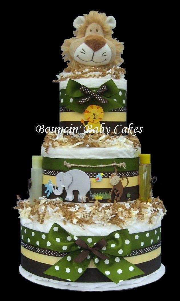 Zoo Crew Safari Jungle Baby Shower Diaper Cake Centerpiece
