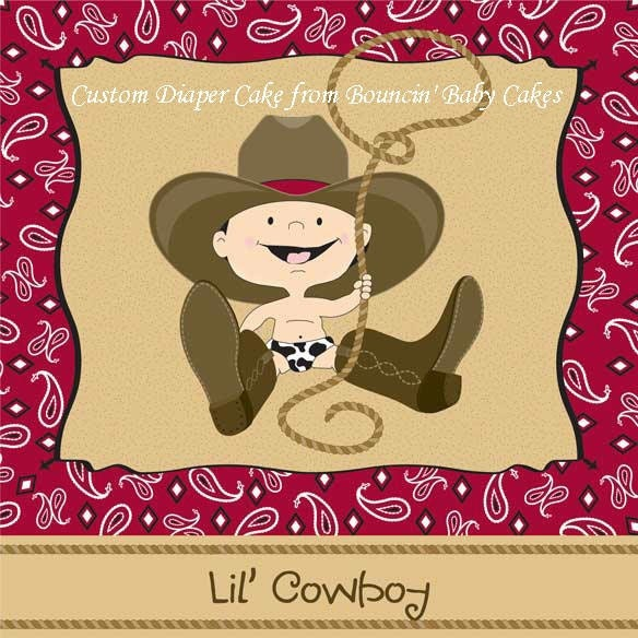 Baby Shower Cowboy Theme: Custom Cowboy Themed Diaper Cake For Charity5