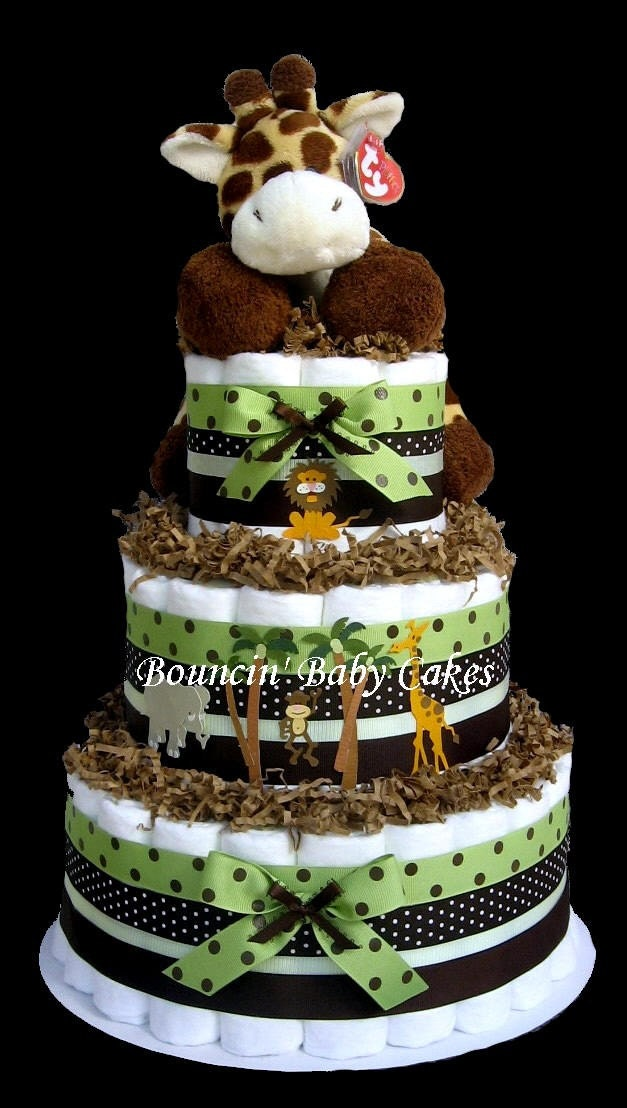 baby giraffe safari diaper cake baby shower centerpiece by tmomma4