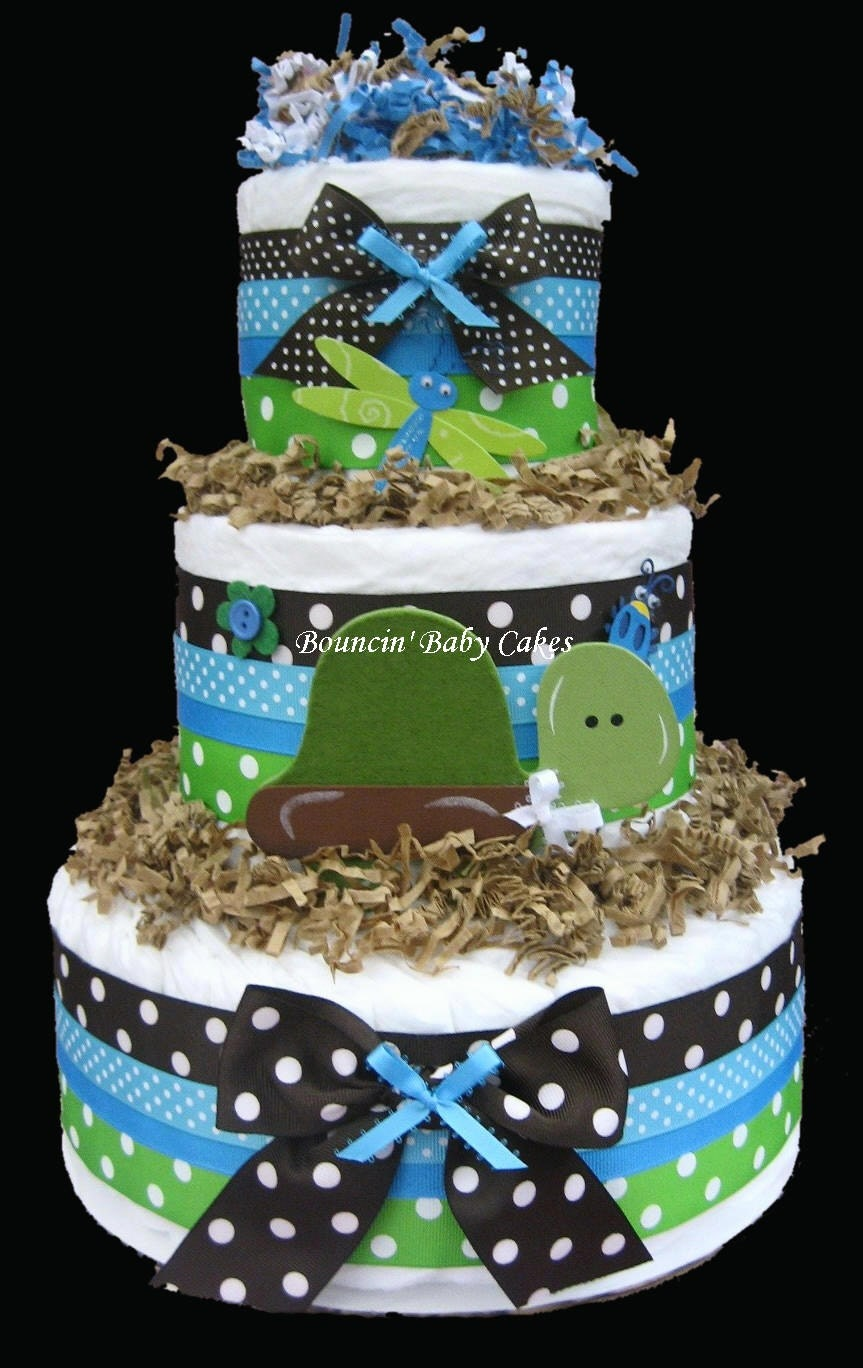Diaper Cake Centerpiece For Baby Shower : Turtle Pond Diaper Cake Baby Shower Centerpiece by tmomma4 ...