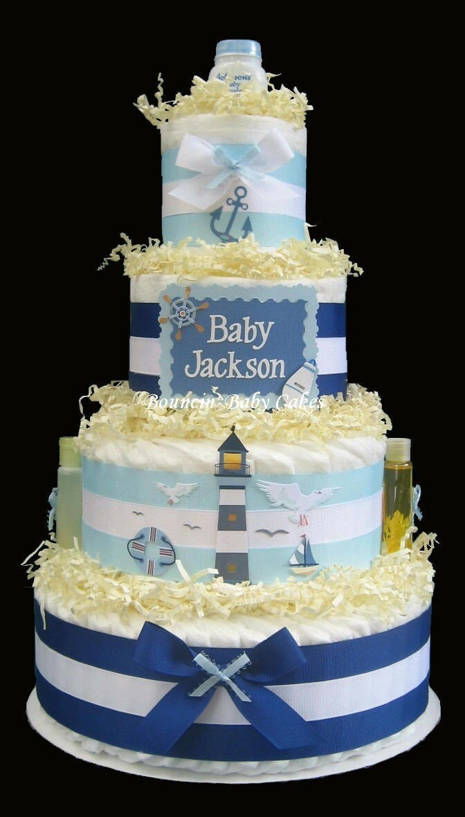 tier personalized nautical blue diaper cake baby shower