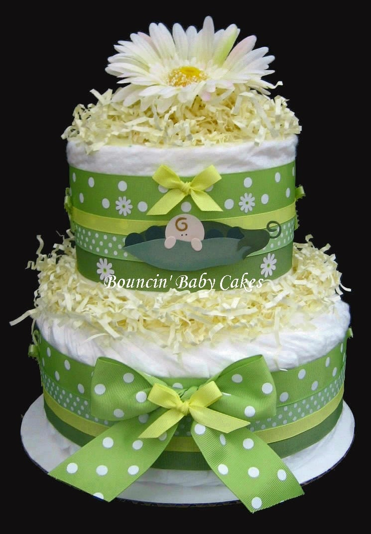 2 Tier Baby Neutral Pea In A Pod Baby Shower Diaper Cake