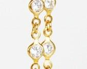 gold vermeiled sterling silver, zircon, dangle earrings - handmade minimalist minimal for her gift zirconia screw back