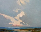 PELICAN BEACH, oil,  original painting, 8x10 on canvas panel,100% charity donation, wall decor, clouds, field