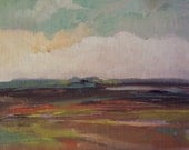 ACEO, Vista, original painting, oil, 100% charity donation, clouds, sky, desert, inexpensive