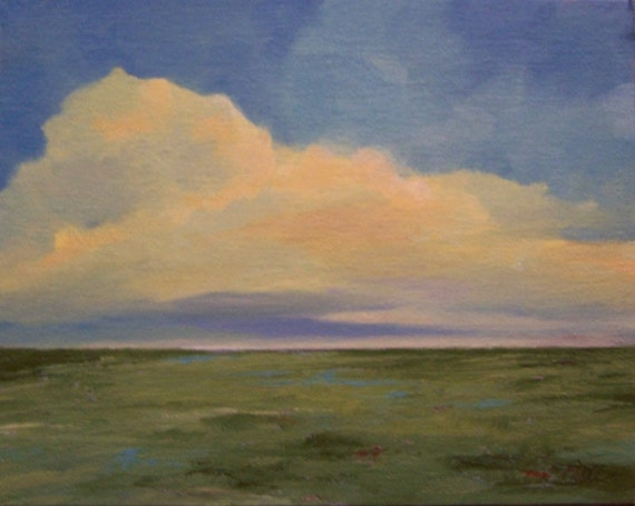 FIELD AND SKY, oil,  original painting, 8x10 on canvas panel,100% charity donation, wall decor, clouds, field