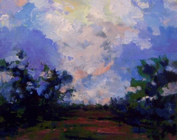 HYDRANGEA SKY, oil,  original painting, 8x10 on canvas panel,100% charity donation, landscape, wall decor, trees, sky