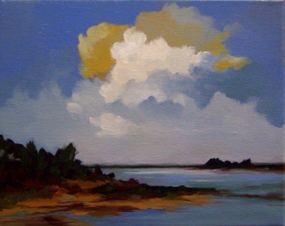 50% off, oil painting landscape RIVER WATCH charity donation, original painting, 8x10 stretched canvas, sunset, dawn, light