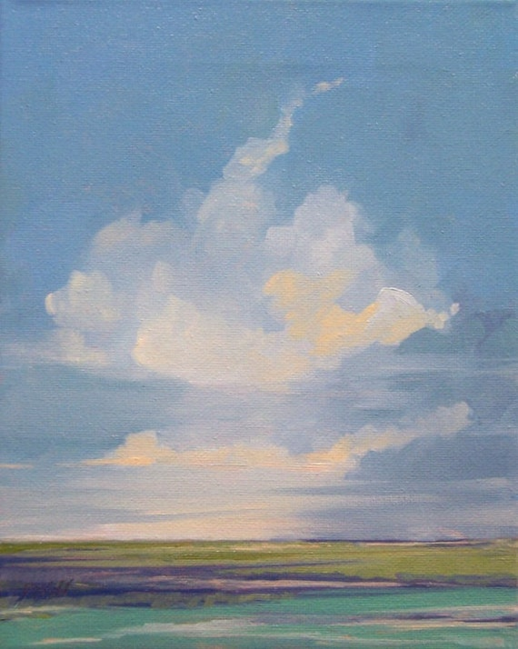 HEAT, oil painting, landscape, 100% charity donation, original painting, 8x10 stretched canvas, light, clouds, sky,