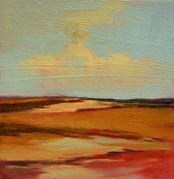 BARE GROUND, Original oil painting, landscape, 100% charity donation, original painting, 5x5, clouds, atmosphere, sky, hills, desert