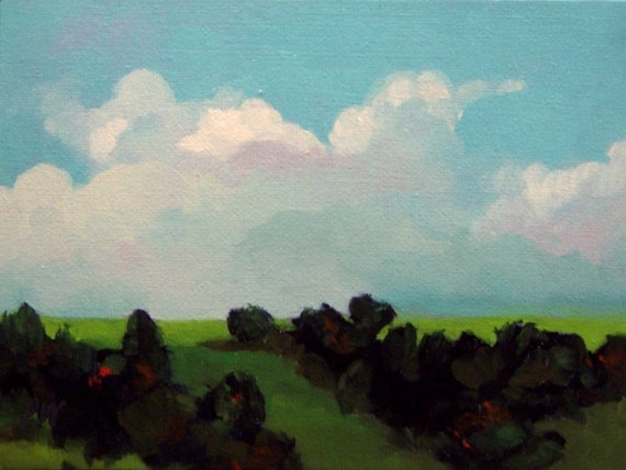 original oil painting, landscape, The Paths, 100% charity donation, original painting, 6x8 on canvas panel, clouds, wall decor, canvas, oil