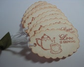Vintage Wedding Favor - Ivory Love is Brewing Gift Tags - Teapot and Cup