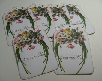 Handmade Bird Gift Tags - Love Birds