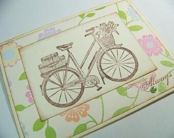 Handmade Stamped Vintage Bicycle Greeting Card