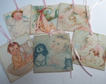 Handmade Baby Girl Gift Tags - Vintage Collage