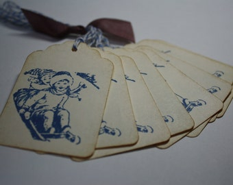 Handmade Vintage Style Gift Tags - Winter Sledding