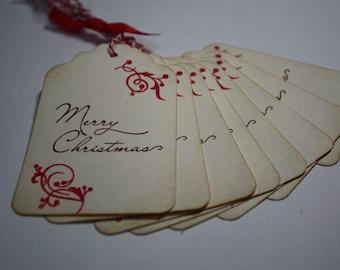 Handmade Vintage Style Gift Tag - Christmas