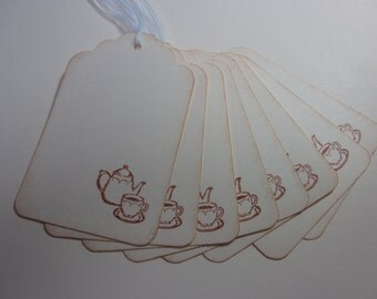 Tea Party Favor Gift Tags - Stamped Teapot and cup - Vintage Inspired