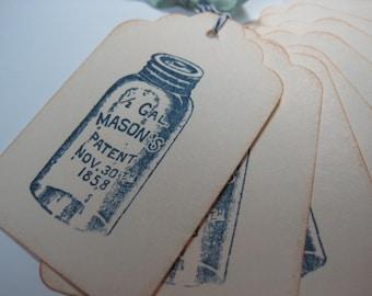 Stamped Gift Tags - Vintage Mason Jar in Blue