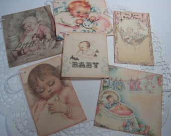 Handmade Vintage Inspired Gift Tag - Baby Shower - New Baby