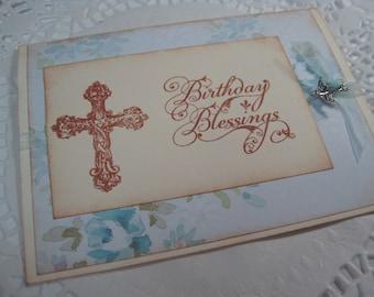 Handmade Stamped Greeting Card - Birthday Blessings