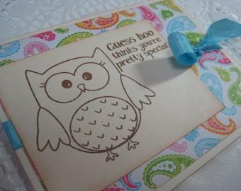 Handmade Vintage Inspired Greeting Card - OWL - Friendship