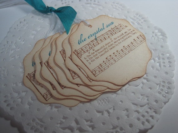 Handmade Vintage Style The Crystal Sea Gift Tags