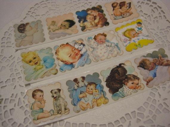 Vintage Style Handmade Sticker Seals - Baby Boy