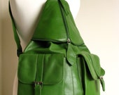 Large Kelly Green Leather Backpack SALE
