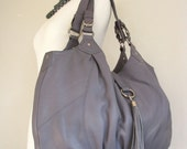 Leather Tote Handbag in Gray LAST ONE - 20% off
