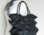 Black Soft Leather Frilly Bag