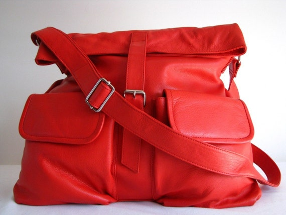 Large Red Slouchy Leather Messenger Bag