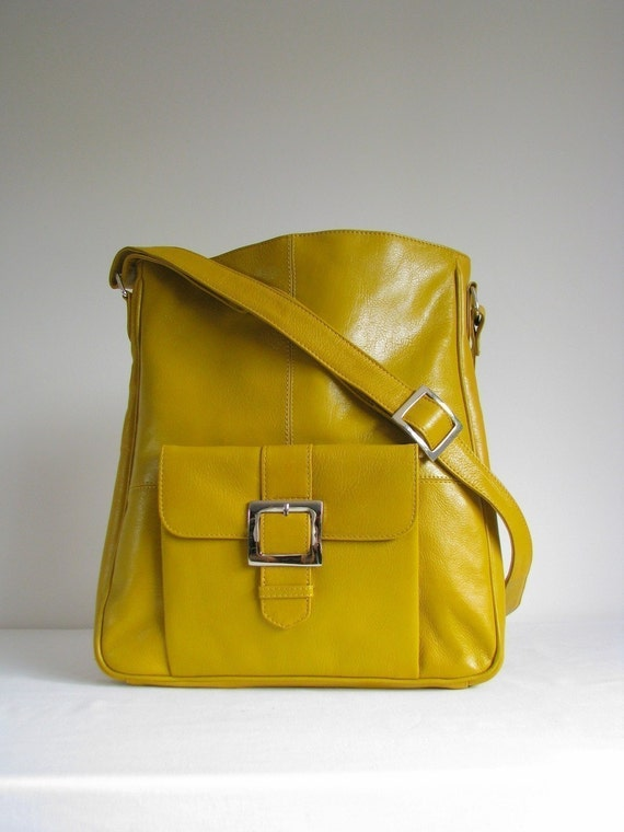 Yellow Leather Pocket Messenger Bag