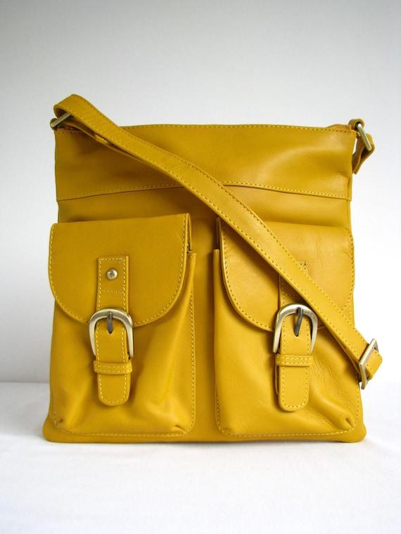 Leather Messenger Bag Shoulderbag Handbag Yellow