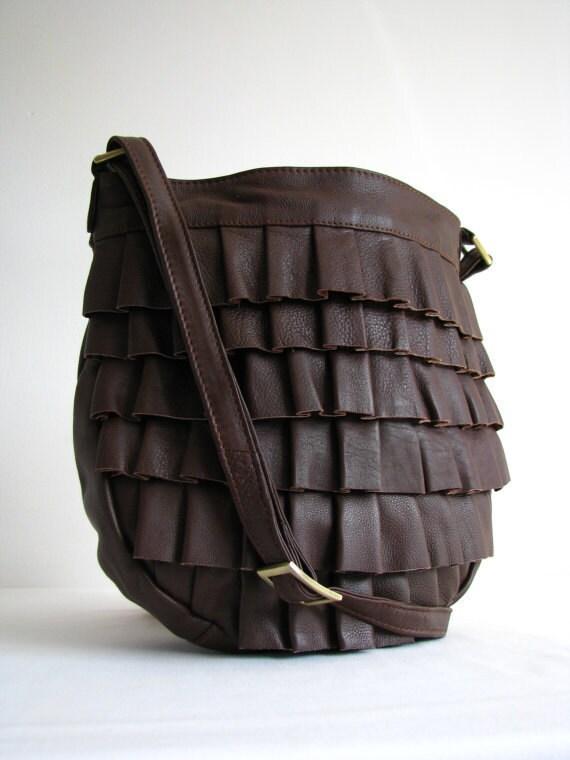 Leather Handbag Messenger bag Purse Brown