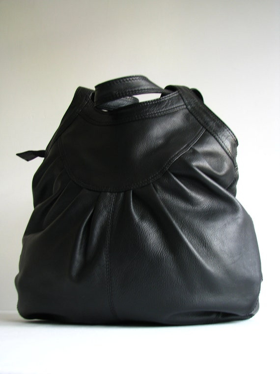 Leather Handbag Purse Tote Black - 20% off