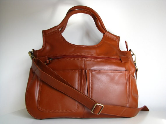 Leather Handbag Satchel - small travel Laptop Ipad Bag