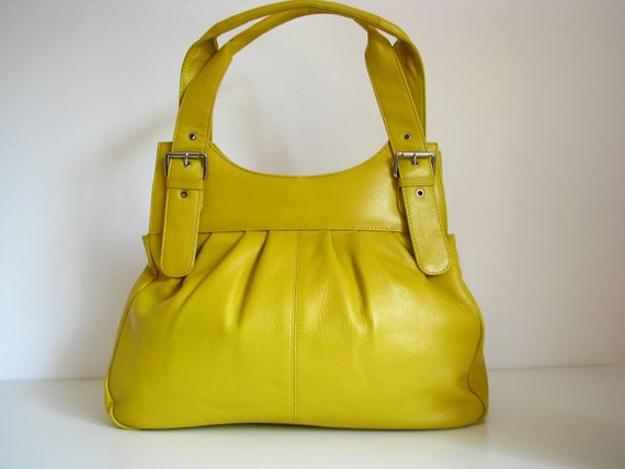 Yellow Leather Pleated Tote ONLY ONE