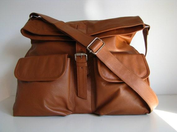 Brown Leather Handbag Messenger Bag