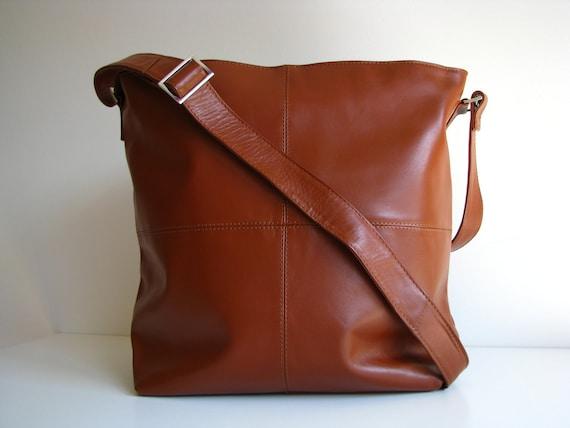 Leather Messenger Handbag Bag Tan - small