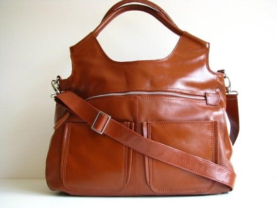 Large Tan Leather Travel Laptop Bag