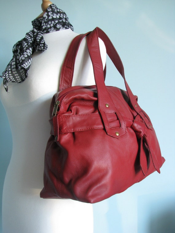 Beautiful  Red Soft Leather Tote Shopper Shoulder Bag Purse Ref 3057 - SALE