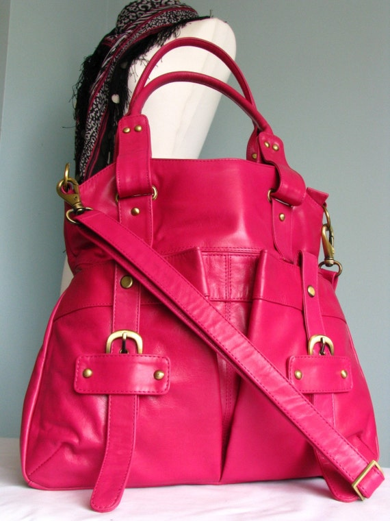 Hot Pink Leather Tote ONLY ONE