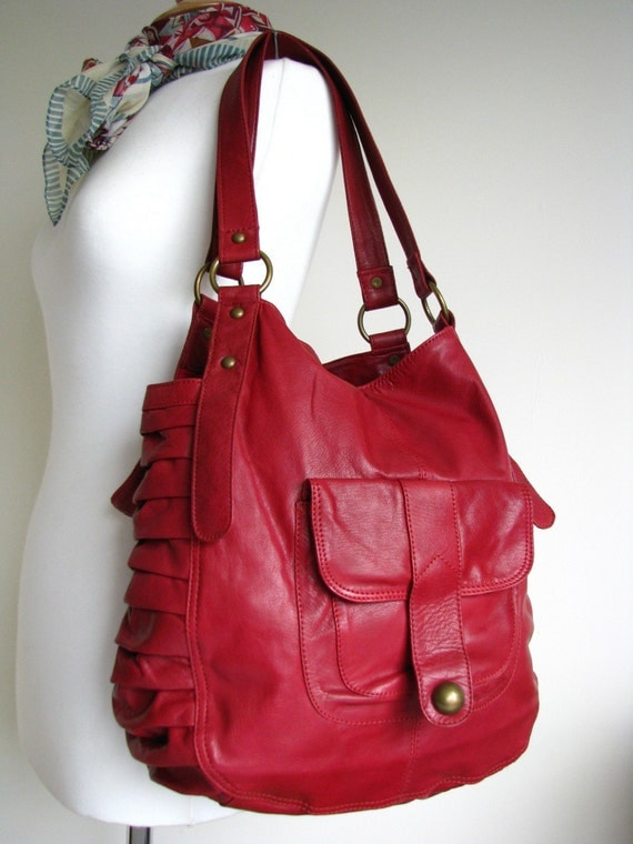 Red Leather Slouchy Bag