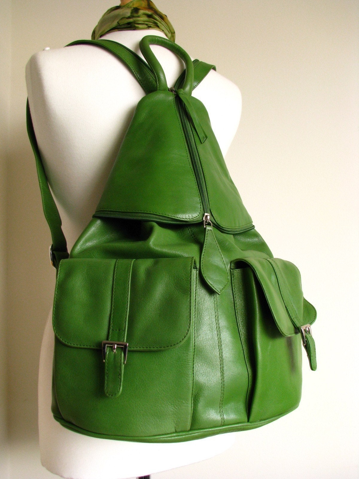 Large Kelly Green Leather Backpack