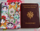 Russian doll passport cover made with a rare fabric
