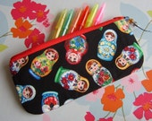 Zipper pouch or pencil case made with RARE matryoshka babushka russian dolls fabric bigger size